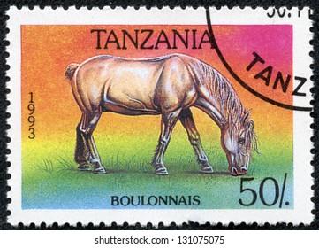 TANZANIA - CIRCA 1993: A stamp printed in Tanzania shows Bulon horse, circa 1993