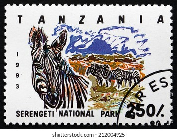 TANZANIA - CIRCA 1993: a stamp printed in Tanzania shows Serengeti National Park, circa 1993