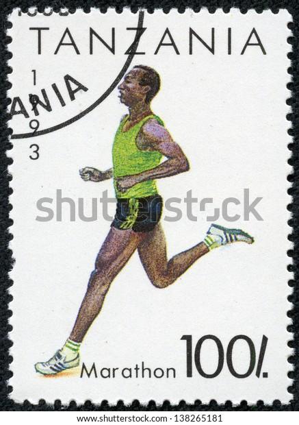 TANZANIA - CIRCA 1993: A stamp printed in Tanzania shows marathon, circa 1993
