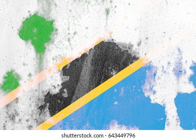 Tanzania flag grunge background. Background for design in country flag