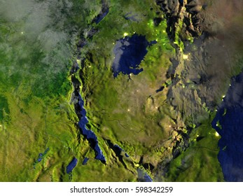 Tanzania region on model of Earth. 3D illustration with realistic planet surface at night. Elements of this image furnished by NASA.