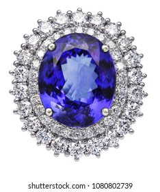 Tanzania sapphire ring with diamond on isolated white background