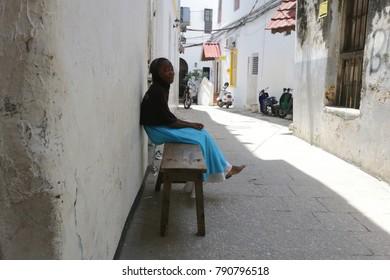 Tanzania, Zanzibar - December 20, 2017: people in the street of Stone Town, Zanzibar Island, Tanzania.