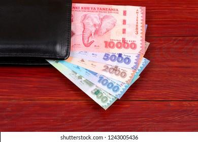 Tanzanian money in the black wallet