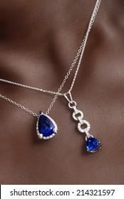 Tanzanite And Diamond Pendants around Her Neck