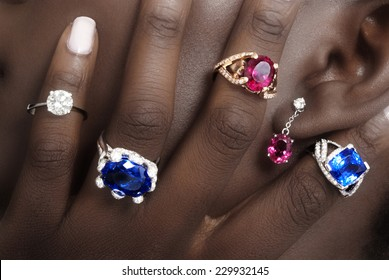 Tanzanite, Rubellite and Diamond,s Designer Jewellery on the Skin of a Black Lady