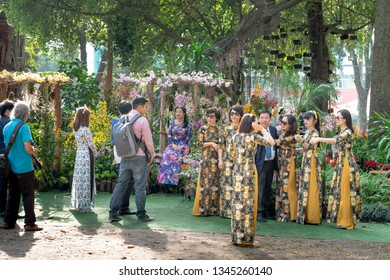 Tao Dan park, Hochiminh City, Vietnam - February 31, 2019: in the Lunar New Year, Vietnamese people and tourists were in Tao Dan park happily to enjoy the atmosphere of spring