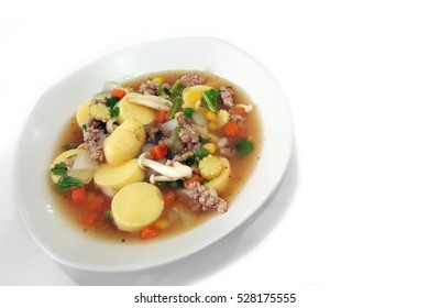 Tao Hu Song Krueng Stir fried tofu with minced pork isolated on white,clipping path.