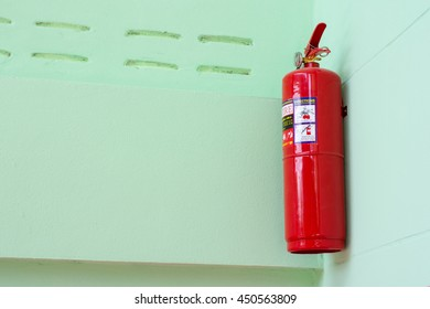 Tao Ngoi, Sakon Nakhon, Thailand July 10, 2016. Fire extinguishers installed in the building. The school Dong Luang,