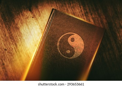 Taoism Book of Harmony. Taoism Also Called Daoism is a Philosophical, Ethical or Religious Tradition of Chinese Origin. Taoism Symbol on the Book Cover.