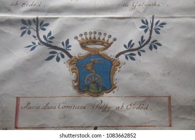 TAORMINA, ITALY- APR 18, 2018 - Geneaology and coat of arms of nobility registered in St Paul's Cathedral, Taormina Sicily, Italy
