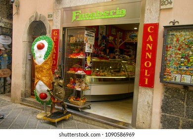 TAORMINA, ITALY- APR 18, 2018 - Sign for patissericia specializing in canoli dessert, Taormina Sicily, Italy