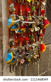 TAORMINA, ITALY- APR 18, 2018 - Soldier puppet martionettes, Taormina Sicily, Italy