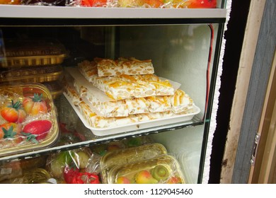 TAORMINA, ITALY- APR 18, 2018 - Delicious desserts in a bakery in Taormina Sicily, Italy