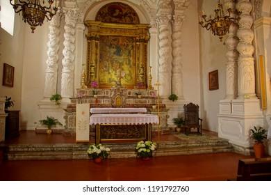 TAORMINA, ITALY- APR 18, 2018 - Baroque altar of church in Taormina Sicily, Italy