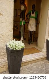 TAORMINA, ITALY- APR 18, 2018 - Entrance to clothing store in Taormina Sicily, Italy