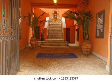 TAORMINA, ITALY- APR 18, 2018 - Fancy entrance to hotel in Taormina Sicily, Italy