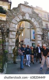 TAORMINA, ITALY, APRIL 24: The military presides and controls the entrance of taormina (messina door) waiting for the G7 April 24 2017 Taormina, Italy