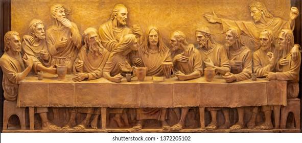 TAORMINA, ITALY - APRIL 9, 2018: The terracotta relief of Last Supper in Duomo (San Pancrazio) by Turi Azzolina (2014).