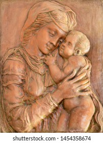 TAORMINA, ITALY - APRIL 9, 2018: The modern  relief of Madonna in terracotta in chruch Chiesa Madonna della Rocca from 20. cent.