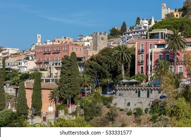 TAORMINA, ITALY - AUGUST 20 2016: Taormina is Sicily's most famous, upmarket and expensive resort, mainly because of its fabulous location high up on Mount Tauro.