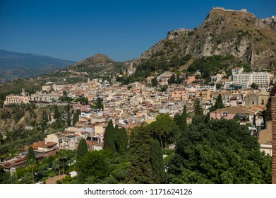 Taormina, Italy - June 29 2017: The skyline of Taormina in Sicily.