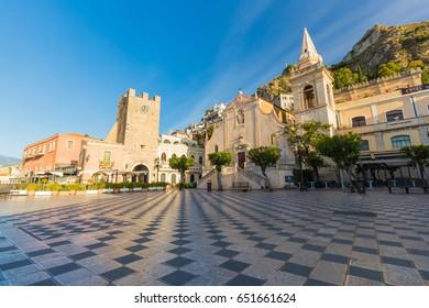 Taormina main square Piazza 9 Aprile, with San Giuseppe church and Corso Umberto street, Taormina, Sicily, Italy