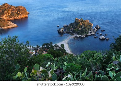 Taormina, Sicily Isola Bella (Beautiful Island) seen from above at sunset. Characteristic prickly pear on foreground.