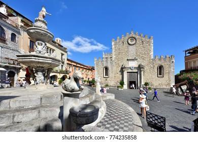 TAORMINA, SICILY, ITALY - SEPTEMBER 06, 2017: Taormina Old Town - Piazza Duomo at Day