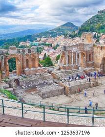 TAORMINA, SICILY - NOV 29, 2018 - Greco-Roman theatre overlooking the sea in Taormina, Sicily, Italy