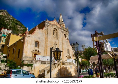 TAORMINA, SICILY - NOV 29, 2018 - Renaissance Baroque church in Taormina, Sicily, Italy