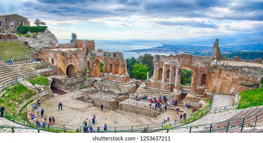 TAORMINA, SICILY - NOV 29, 2018 - Greco-Roman theatre overlooking the sea in Taormina, Sicily, Italy