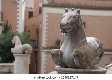 TAORMINA, SICILY - NOV 29, 2018 - Seahorse fountain in Taormina, Sicily, Italy