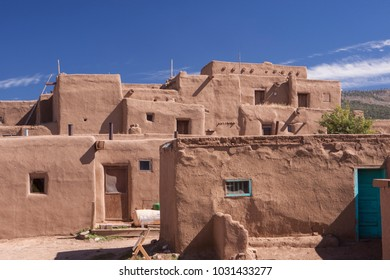 Taos , New Mexico - October 6 2010: Taos Pueblo, The multi-storied adobe buildings have been continuously inhabited for over 1000 years.