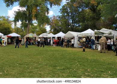 Taos, New Mexico, United States - October 1, 2016: Vendor tents and people at the Taos Wool Festival.