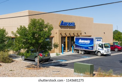 TAOS, NM, USA-13 JULY 18: A branch of Aaron's Rent-to-own business in Taos.