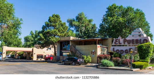 TAOS, NM, USA-7 JULY 18: The El Pueblo Lodge in Taos sets on Paseo del Pueblo Norte,  was originally built as a small ranch in 1912.