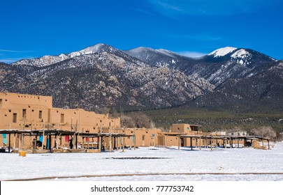Taos Pueblo New Mexico the land of Enchantment and home to the Southern Sangre De Cristo Mountains of the desert Southwest native indigenous Americans
