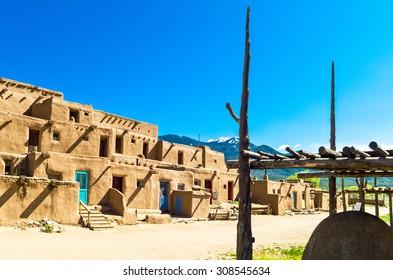Taos, U.S.A. - May 22 2011: New Mexico, the  native pueblo (village)