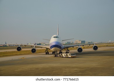Taoyuan, AUG 19: The China Airlines airplane on AUG 19, 2017 at Taoyuan, Taiwan