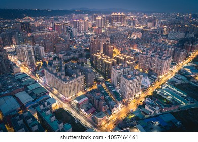 Taoyuan City Skyline Aerial View in Evening - Asia modern business city, panoramic cityscape birds eye view use the drone, shot in Taoyuan, Taiwan.
