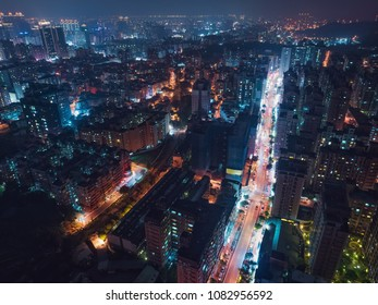 Taoyuan City Skyline Aerial View - Asia modern business city, cityscape (night view) birds eye view use the drone at night, shot in Taoyuan, Taiwan.