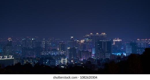 Taoyuan City Skyline - Asia modern business city, panoramic cityscape at night, shot in Taoyuan, Taiwan.