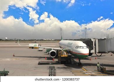 Taoyuan countray,Taiwan - Feb 22th ,2016 : Air bridge carriage travellers at Taiwan Taoyuan International Airport in Taiwan.