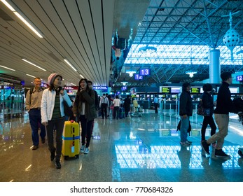 Taoyuan - Nov 25: Taoyuan International Airport facade on November 25, 2017 in Taoyuan,Taiwan. The airport is Taiwan's largest and busiest airport.
