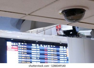 Taoyuan, Taiwan - November 07, 2018 : Close up of security camera in front of flight schedules board inside Taoyuan international airport in Taoyuan Taiwan