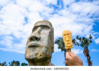 Taoyuan, Taiwan - Oct 06, 2018: Moai stone statue and Moai popsicle in Ta Shee Blooming Oasis.