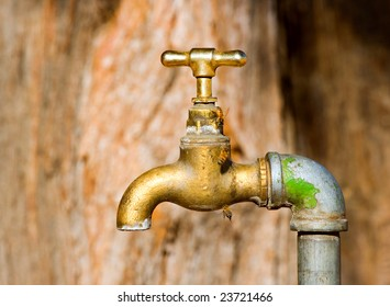 tap in arid area with bees drinking water