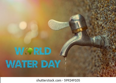 tap water with blurred background, concept of world water day , March 22