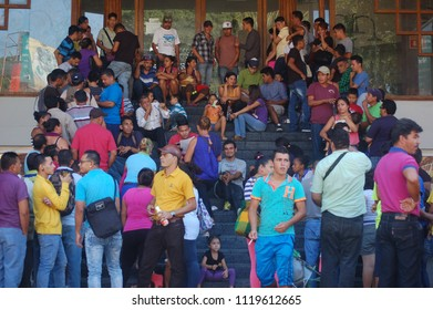 Tapachula, Chiapas/Mexico-July, 2016. Central American asylum-seekers line up at a COMAR office.
